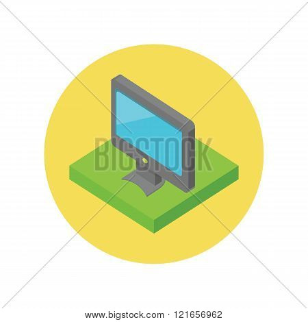 Isometric Computer Monitor Isolated