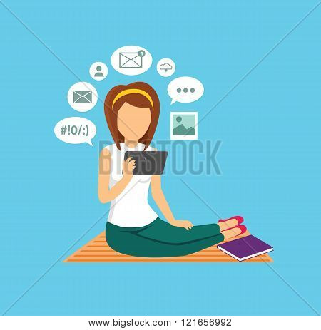 Computer User Woman Isolated Icon