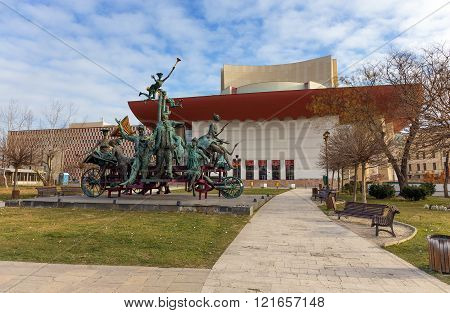 BUCHAREST, ROMANIA - DECEMBER 31: The National Theatre of Bucharest on December 31, 2015. It is one of the national theatres of Romania, located at University Square in the capital city of Bucharest.