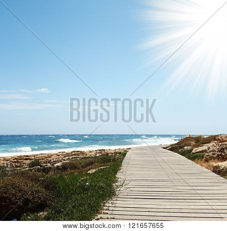Wood Countertops On The Blue Sea & Sky Background