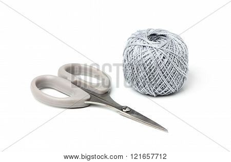 Scissors And Thread Gray Color Isolated On White Background.