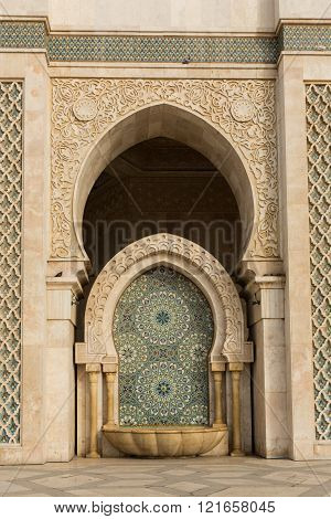 embellished fountain at the Hasan II mosque in Casablanca, Morocco