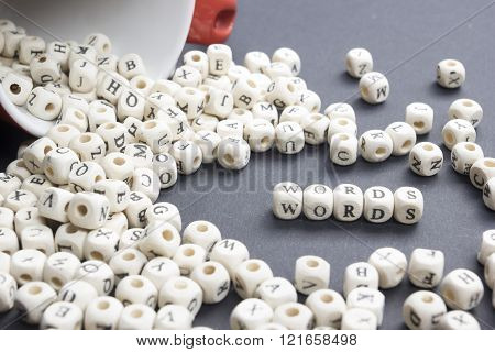 text of WORD on wood cubes. Wooden block ABC