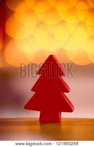 small wooden red tree