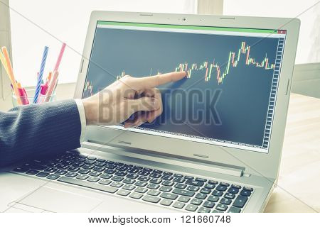 Businessman is pointing stock graph. Technical analysis stock by professional trader in vintage style