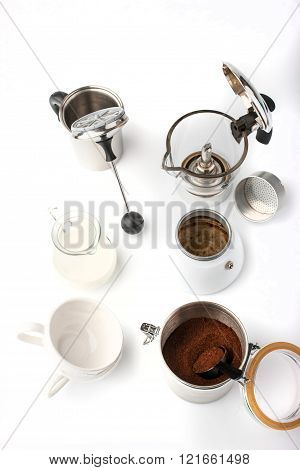 Equipment for preparation coffee on the white background vertical