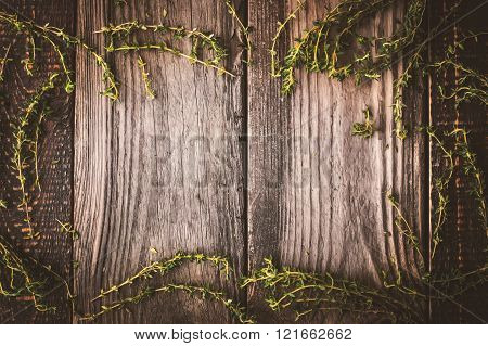 Frame of the thyme sprigs on the wooden board horizontal