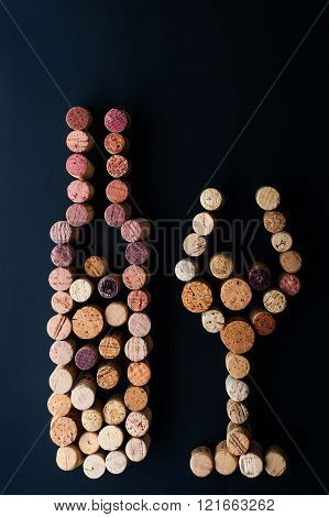 Wine bottle and glass made by corks vertical