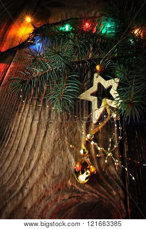 Christmas fir tree with decoration and festoon