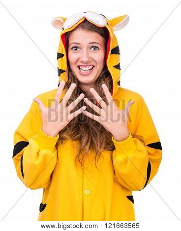 surprised girl dressed as a tiger