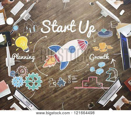 Start up Launch Ideas Motivation Mission Concept