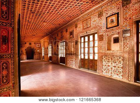 BIKANER, INDIA - MAR 4: Inside the royal palace in 16th century Junagarh Fort on March 4, 2015. The 5.28 hectares large Junagarh fort precinct is studded with palaces temples and pavilions