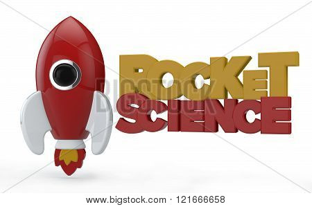 3D Render Of A Symbolic Rocket Colored In Red