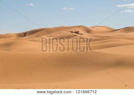 sand dunes in the desert of Merzouga, Morocco