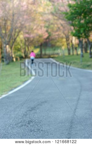 blur road woman