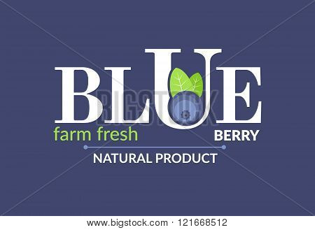 White logo at a blue backgraund. Forest fruit creative symbol template. Fresh organic fruit unique i
