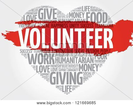 Volunteer word cloud heart concept, presentation background