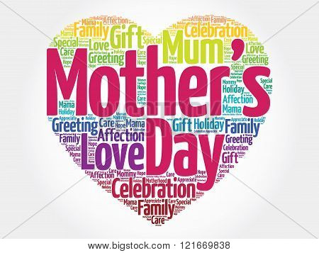 Mother's day heart word cloud, presentation background