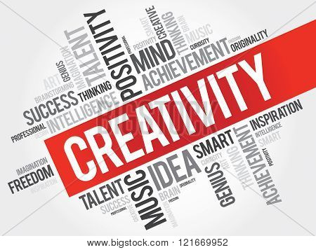 Creativity word cloud collage concept, presentation background