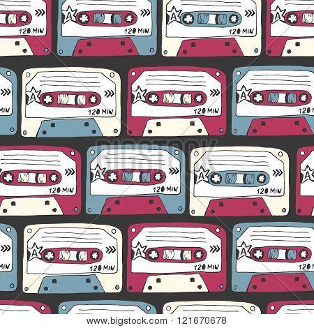 Music Symbols. Seamless Pattern Of Ratro Cassettes. Rock Music B