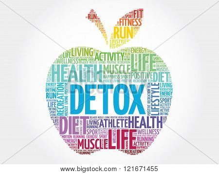 Colorful DETOX apple word cloud concept, presentation background
