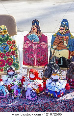 Berdsk Novosibirsk region Siberia Russia - March 13 2016: Russian holiday Maslenitsa ( farewell to winter welcoming the spring ). Handmade traditional national Russian style show at the fair