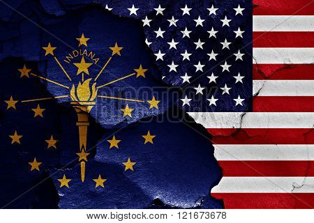 Flags Of Indiana And Usa Painted On Cracked Wall