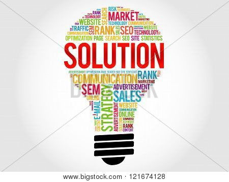 SOLUTION bulb word cloud business concept, presentation background