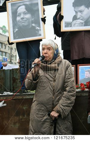 Human rights activist Lyudmila Alexeyeva speaks at a rally in memory of Markelov and Baburova