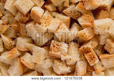 Bread crumbs abstract closeup