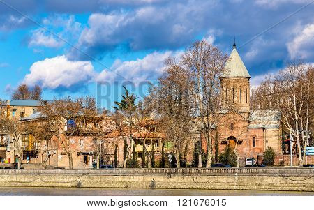 The Church of St. Nicholas on the bank of the Kura river in Tbilisi