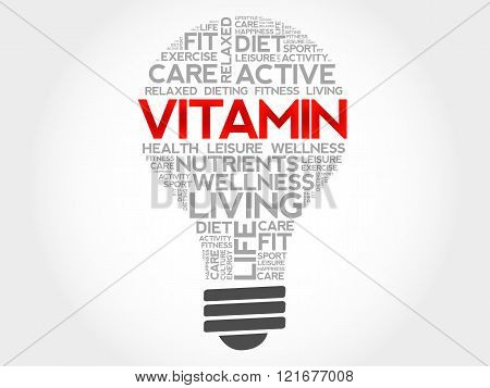 VITAMIN bulb word cloud, health concept, presentation background