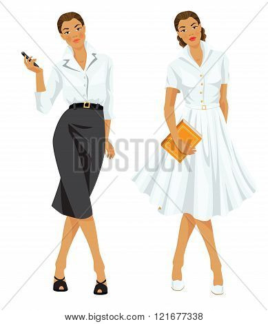 Woman  in formal clothes and woman in elegant white dress.