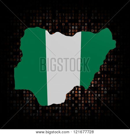 Nigeria map flag on hex code illustration
