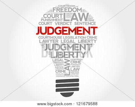 Judgement bulb word cloud concept, presentation background
