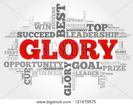Glory word cloud business concept, presentation background