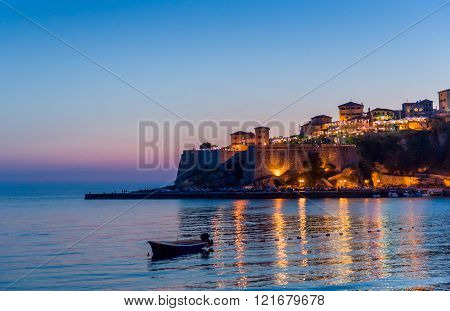 Ulcinj old town fortress after sunset.