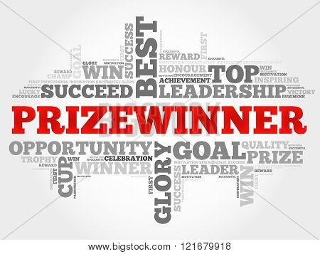 Prizewinner word cloud business concept, presentation background