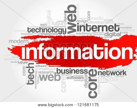 INFORMATION word cloud education concept, presentation background