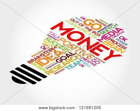 Money bulb word cloud business concept, presentation background