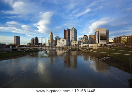 Columbus, Ohio with the Rich Street Bridge in the foreground