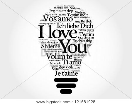 Love bulb with words