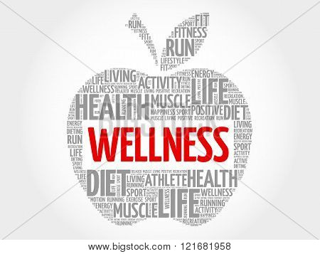 Wellness apple word cloud concept, presentation background