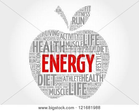 Energy apple word cloud concept, presentation background