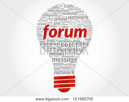 Forum bulb word cloud, business concept, presentation background