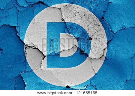 flag of Democrats painted on cracked wall