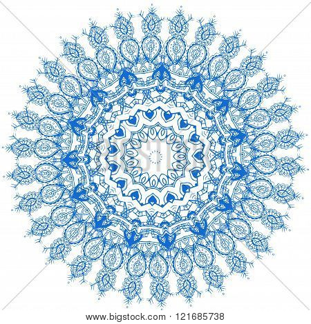 Ornament beautiful card with mandala. Flake of snow made in vector. Perfect  cards for any other kind of design, birthday and other holiday, kaleidoscope,  medallion, yoga, india, arabic