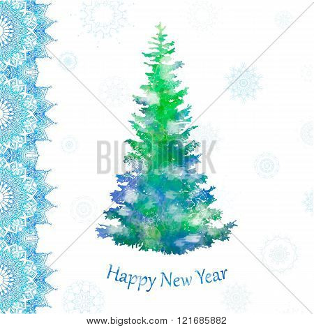 Ornament beautiful card with mandala. Flake of snow made in vector. Perfect  cards watercolor for any other kind of design, birthday and other holiday, kaleidoscope, yoga, india, arabic