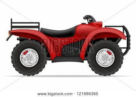 Atv Motorcycle On Four Wheels Off Roads Vector Illustration