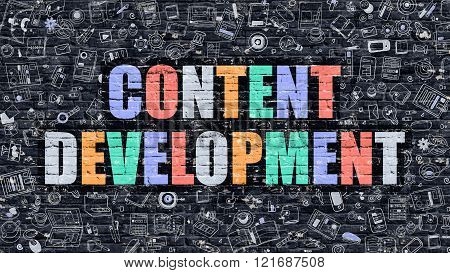 Content Development in Multicolor. Doodle Design.
